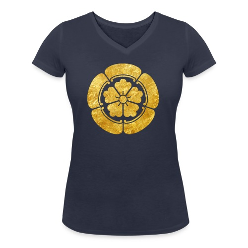 Oda Mon Japanese samurai clan faux gold on black - Women's Organic V-Neck T-Shirt by Stanley & Stella