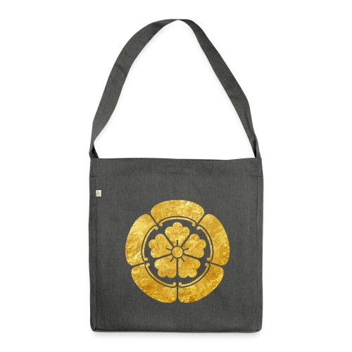 Oda Mon Japanese samurai clan faux gold on black - Shoulder Bag made from recycled material