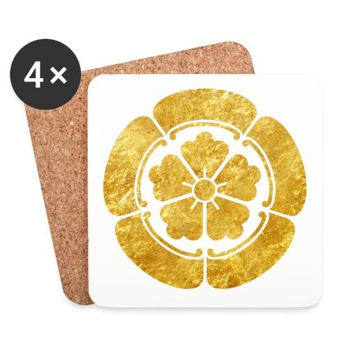 Oda Mon Japanese samurai clan faux gold on black - Coasters (set of 4)
