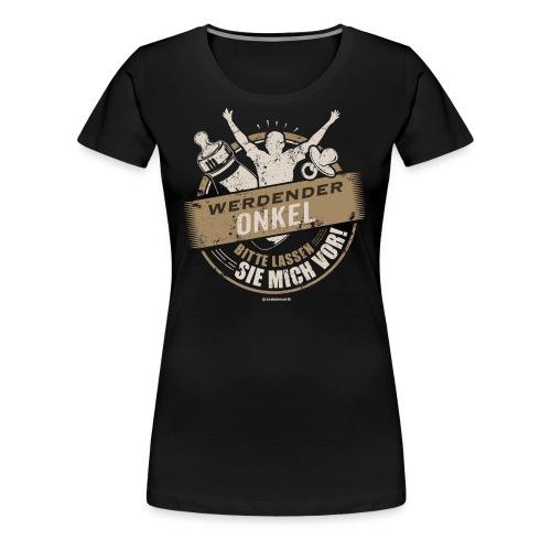 Werdender Onkel lassen Sie mich vor light Sepia 2 - Geschenk zur Geburt - RAHMENLOS - Frauen Premium T-Shirt