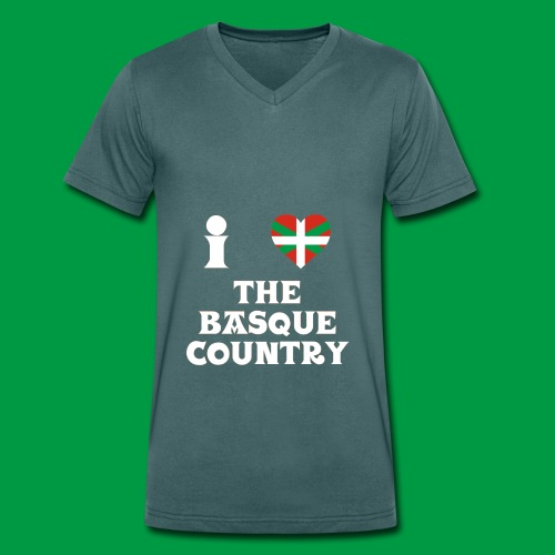 Male I Love The Basque Country T-Shirt (On Green) - Men's Organic V-Neck T-Shirt by Stanley & Stella