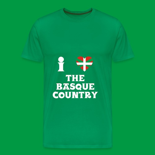 Male I Love The Basque Country T-Shirt (On Green) - Men's Premium T-Shirt