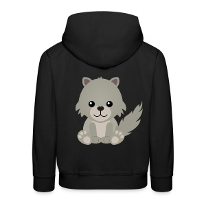 Kawaii Cute Wolf Cub Cartoon - Kids' Premium Hoodie