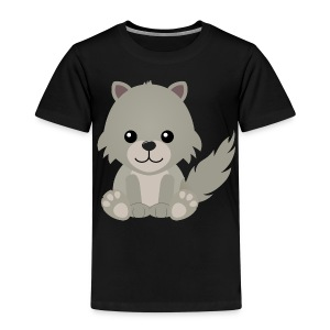 Kawaii Cute Wolf Cub Cartoon - Kids' Premium T-Shirt