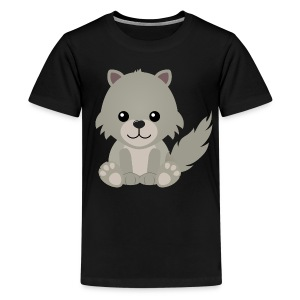 Kawaii Cute Wolf Cub Cartoon - Teenage Premium T-Shirt