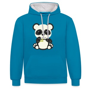 Kawaii Cute Panda Bear Cub - Contrast Colour Hoodie