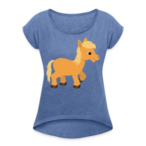 Cute Palomino Pony Horse - Women's T-shirt with rolled up sleeves