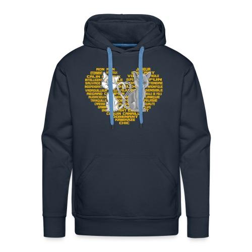 Cœur de chat (or) - Sweat-shirt à capuche Premium pour hommes