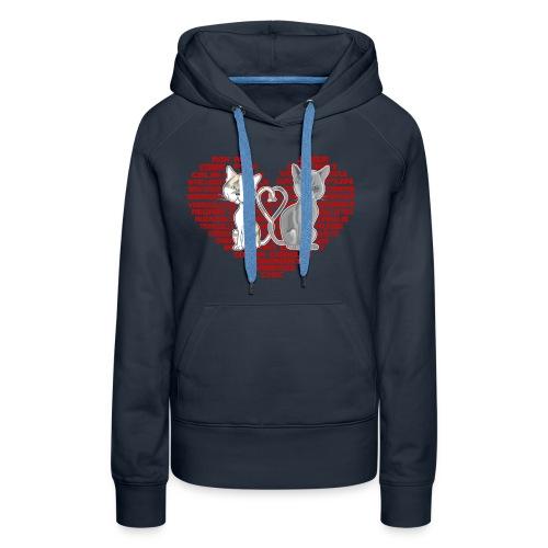 Cœur de chat (rouge) - Sweat-shirt à capuche Premium pour femmes