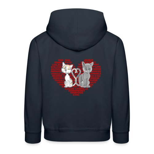 Cœur de chat (rouge) - Pull à capuche Premium Enfant