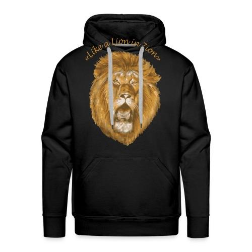 like a lion in zion/ - Sweat-shirt à capuche Premium pour hommes