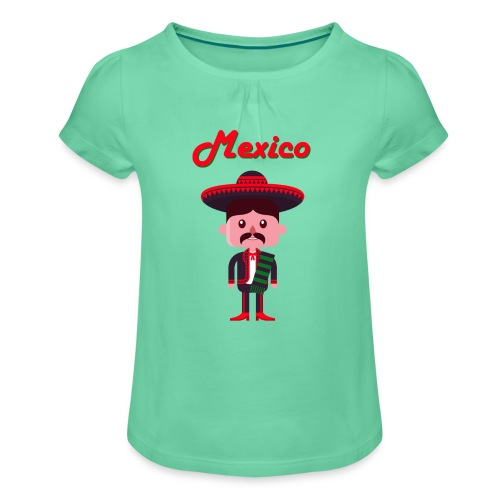 Camiseta para niña con drapeado