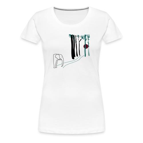 Elefant mot solnedgången - on the road.. - Premium-T-shirt dam