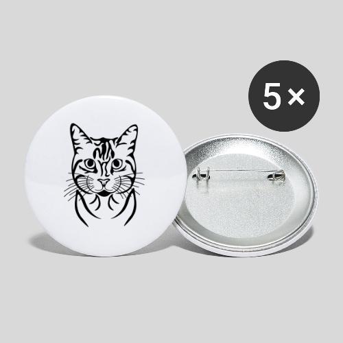 Katzenkopf - Buttons groß 56 mm (5er Pack)