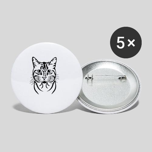 Katzenkopf - Buttons mittel 32 mm (5er Pack)