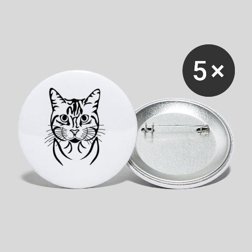 Katzenkopf - Buttons klein 25 mm (5er Pack)