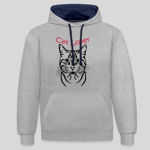 Katzenkopf/Cat Lover - Kontrast-Hoodie