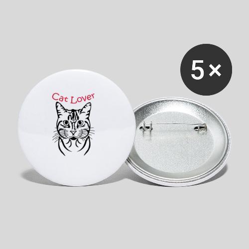 Katzenkopf/Cat Lover - Buttons mittel 32 mm (5er Pack)