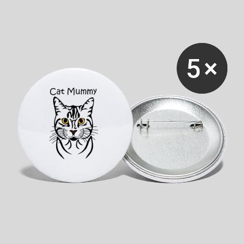 Katzenkopf/Cat Mummy - Buttons groß 56 mm (5er Pack)