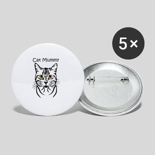 Katzenkopf/Cat Mummy - Buttons mittel 32 mm (5er Pack)