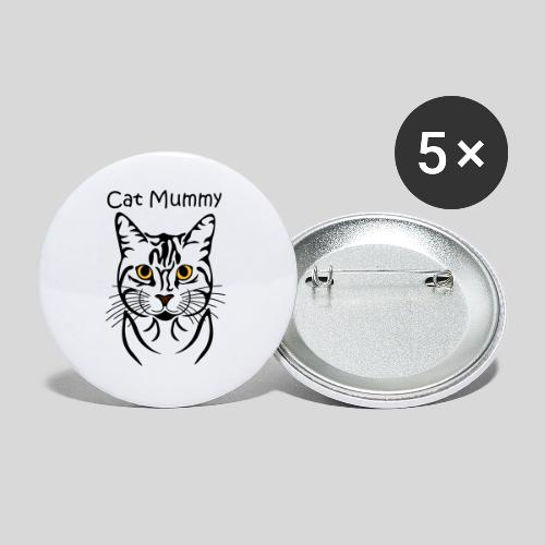 Katzenkopf/Cat Mummy - Buttons klein 25 mm (5er Pack)