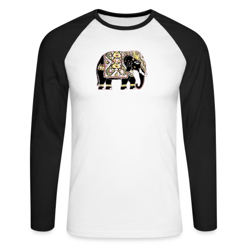 Decorated Indian elephant - Men's Long Sleeve Baseball T-Shirt