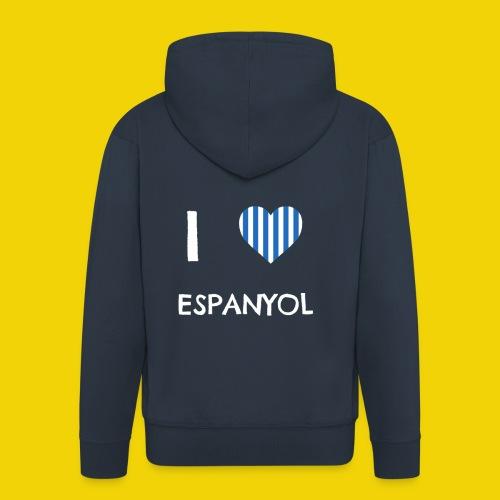 Male I Love Espanyol T-Shirt (On Navy Blue) - Men's Premium Hooded Jacket
