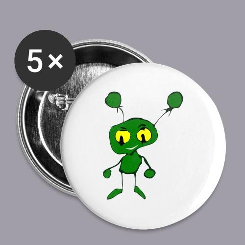 grüner Alien - Buttons groß 56 mm (5er Pack)