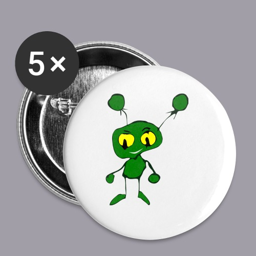 grüner Alien - Buttons klein 25 mm (5er Pack)