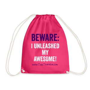#UnleashYourAwesome - ladies pink tee - Drawstring Bag