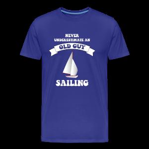 Never underestimate an old guy sailing - Men's Premium T-Shirt