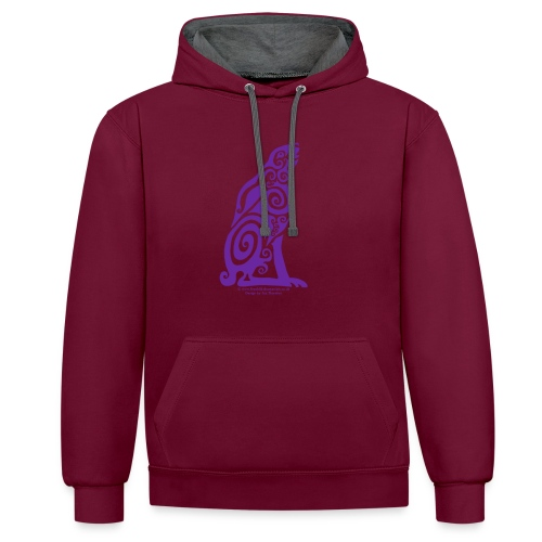 Spirit Animal - Purple Hare - Contrast Colour Hoodie