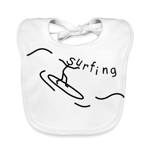 Strichmännchen Surfing - Baby Bio-Lätzchen