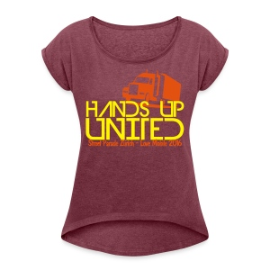 Hands Up United Frauen Top (Gelb) - Frauen T-Shirt mit gerollten Ärmeln