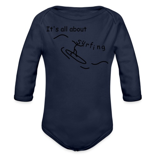 Strichmännchen- It`s all about surfing - Baby Bio-Langarm-Body