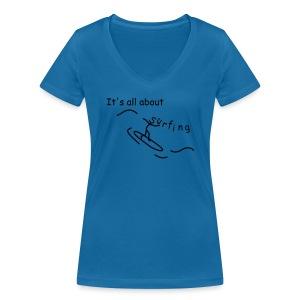 Strichmännchen- It`s all about surfing - Frauen Bio-T-Shirt mit V-Ausschnitt von Stanley & Stella