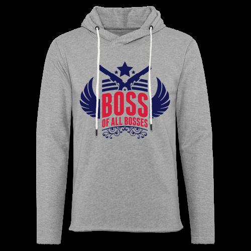 Boss-Navy/ Rot - Leichtes Kapuzensweatshirt Unisex