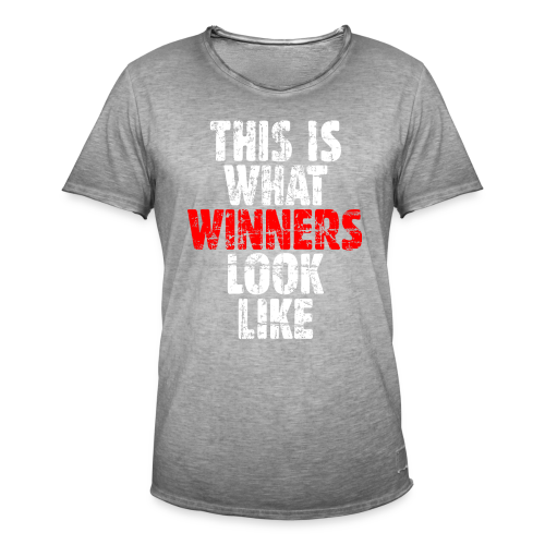 Winner T-Shirt S-5XL (Weiß/Rot) Vintage - Männer Vintage T-Shirt