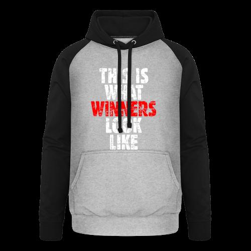 Winner T-Shirt S-5XL (Weiß/Rot) Vintage - Unisex Baseball Hoodie