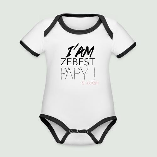 Ze best PAPY ! - Body Bébé bio contrasté manches courtes