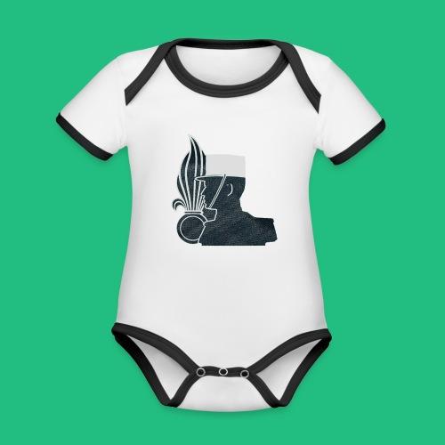 légionnaire flamme et képi blanc - Body Bébé bio contrasté manches courtes