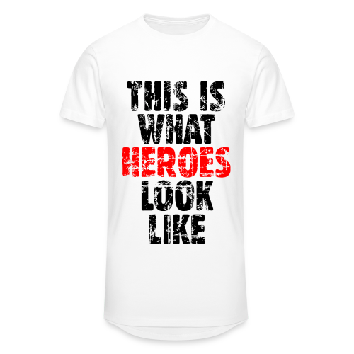 Hero T-Shirt S-5XL (Schwarz/Rot) Vintage - Männer Urban Longshirt