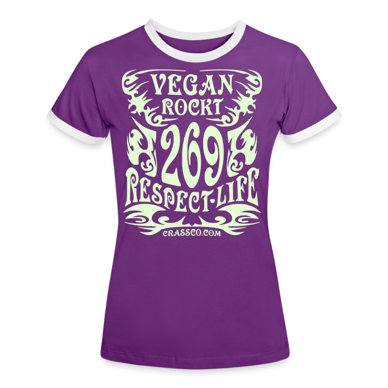 VEGAN RESPECT LIFE (Weiß-Glitzer) - Frauen Kontrast-T-Shirt