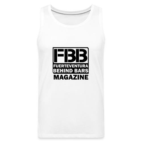 FBB LOGO MEN'S T-SHIRT (WHITE) - BLUE PRINT - Men's Premium Tank Top