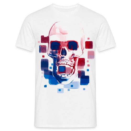Cool Skull, Red & Blue - Men's premium T-shirt - Men's T-Shirt
