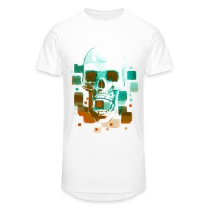 Cool Skull, Cyan & Orange - Men's premium T-shirt - Men's Long Body Urban Tee