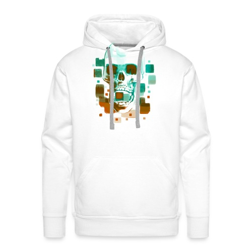 Cool Skull, Cyan & Orange - Men's premium T-shirt - Men's Premium Hoodie