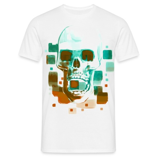 Cool Skull, Cyan & Orange - Men's premium T-shirt - Men's T-Shirt