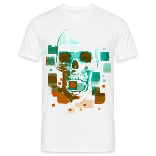 Cool Skull, Cyan & Orange - Men's premium T-shirt - Men's T-Shirt