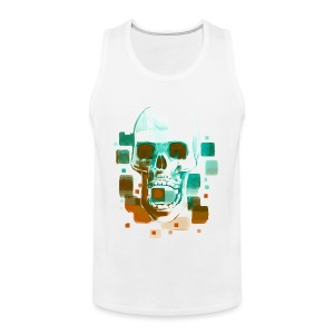 Cool Skull, Cyan & Orange - Men's premium T-shirt - Men's Premium Tank Top